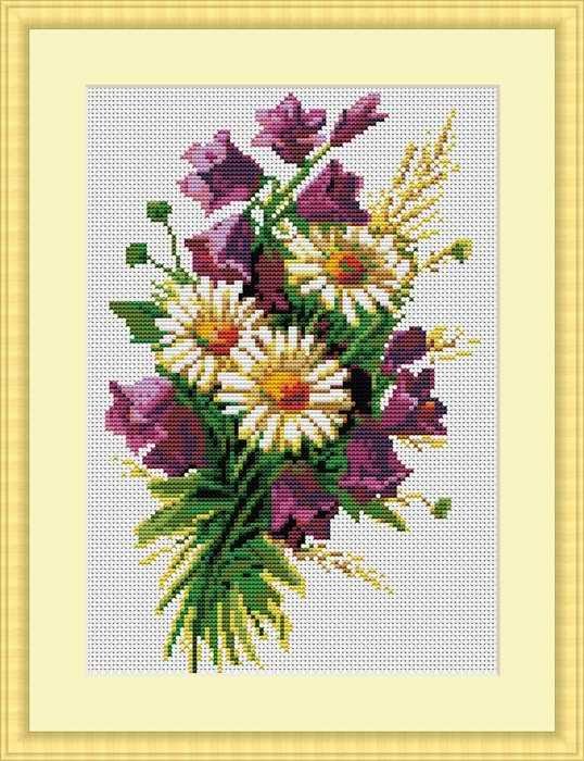 Код для вставки на сайт или форум.  Poppies in Vase.  Схема вышивки крестом в формате XSD.