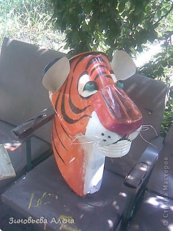 Тигр из пластиковых бутылок мастер класс схема