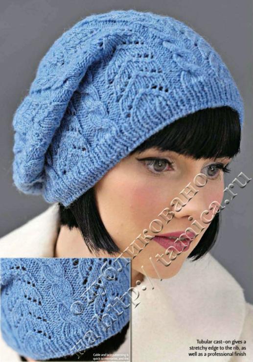 Вязаные шапки, схемы вязания беретов и шляпок. . Бесплатное описание вязания шапок и узоры