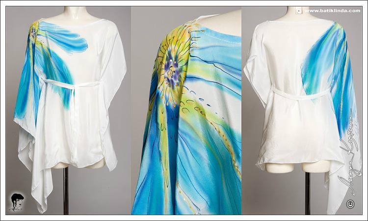 Туники - батик, вечерние платья, платки, ш, Шелковая туника, которая скрывает недостатки и демонстрирует несомненно