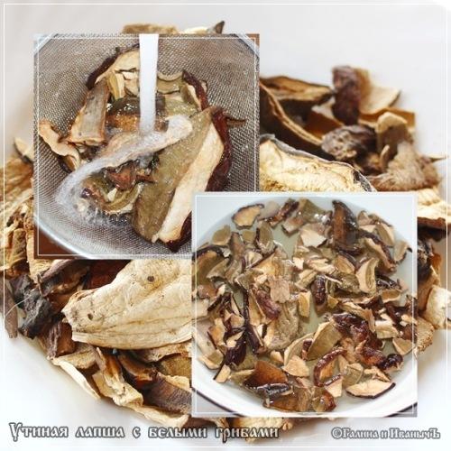 Утиная лапша с белыми грибами ... сушеными