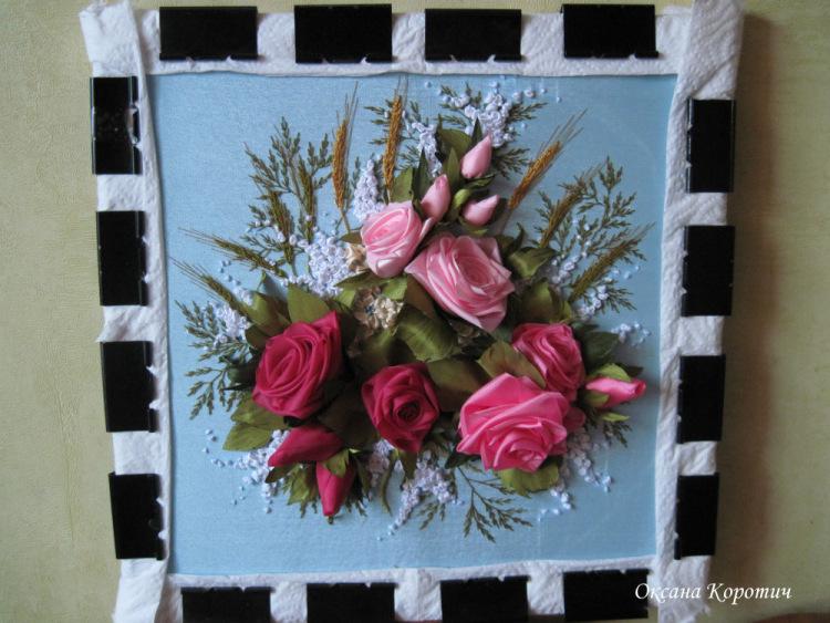 Картина из цветов из ткани своими руками 626