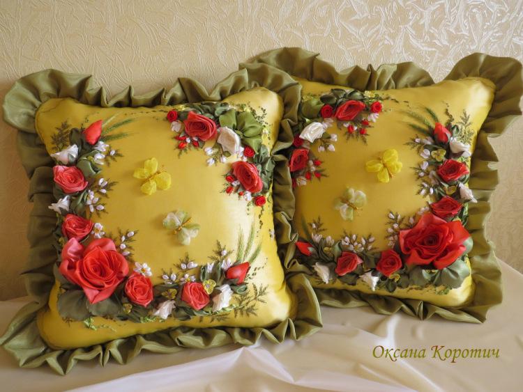 Вышивка атласными лентами декоративные подушки 69